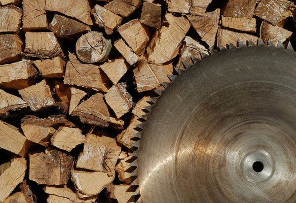Sawblade and firewood: Sawblade and firewood