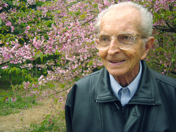 The better age: My grandfather with japanese flowers.