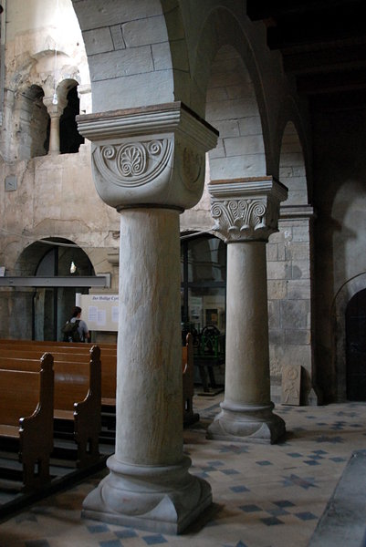 Romanesque columns from Frose: Inside church St. Cyriakus in Frose