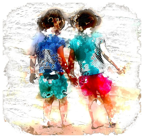 Twin Girls: Twin girls pictured with a distressed paint and sketch effect. Useful for many illustrations, including childhood, multiple births, domestic violence, family, family distress, etc. No need for model release as not recognisable.