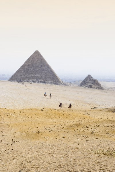 Pyramids: Egyptian pyramids in the desert