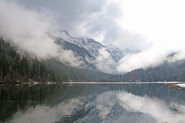 "winter is coming at the lake: late autumn in wagrain/kleinarl at the ""jägersee"" = hunters lake, austria"