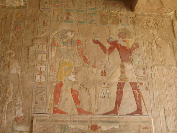 Egyptian wall art: Paintings in Hatshepsut's Temple, Luxor, Egypt.