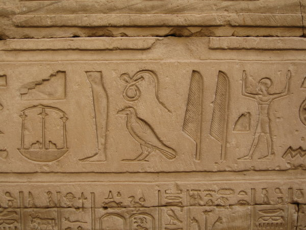 Hieroglyph writting: Hieroglyphs at Dendara,Egypt
