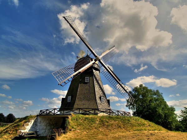Old windmill - HDR: An old windmill from the 19th. century. The picture is HDR derived from 3 pictures