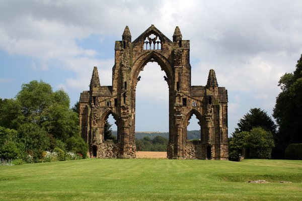 Gisborough Priory 2: The ruins of an Augustinian priory founded by the Bruce family, afterwards Kings of Scotland. They are dominated by the dramatic skeleton of the 14th-century church's east end.