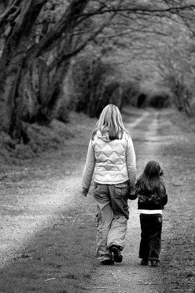 Walking Together: Mother and daughter enjoying a quiet walk