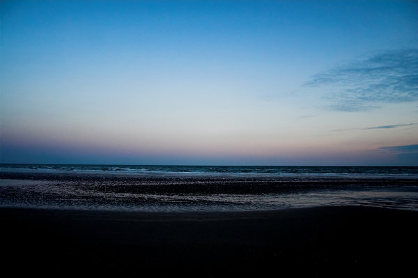 Beach at Dusk: Camber beach, East Sussex