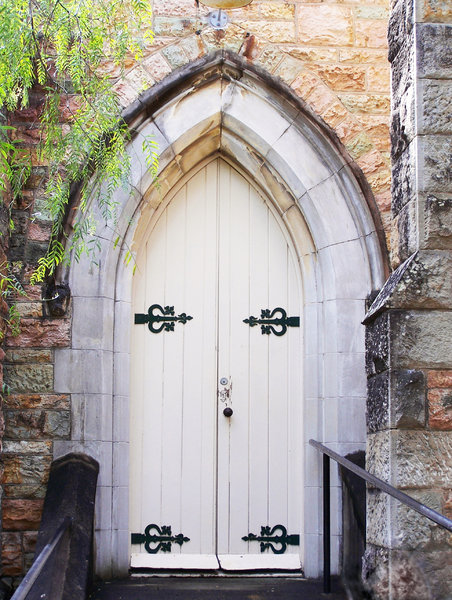 Church door: wooden door of church in Brisbane Australia