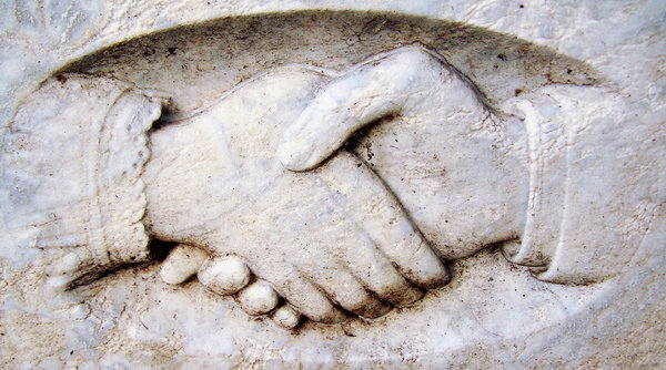 Grave Hands: the clasp of death... hands on gravestone at old Auckland cemetery