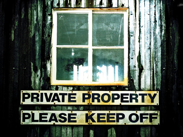 Private Property: Warning sign on the side of a disused ship