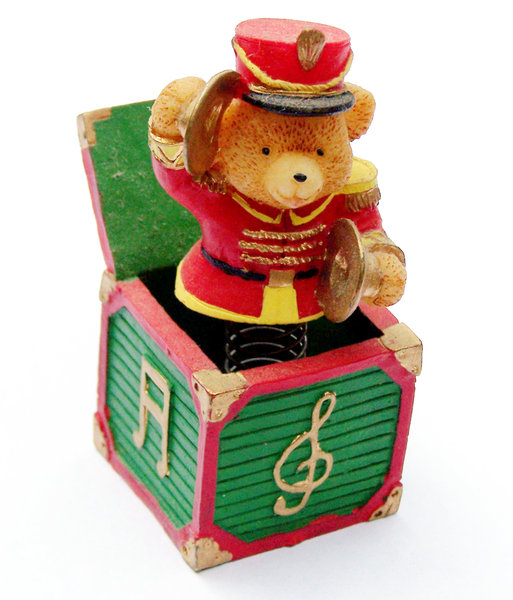 The Clash of Cymbals: Jack-in-the-box bear in band uniform