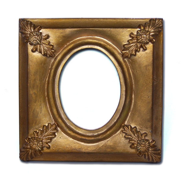 Painted gold frame: Small picture frame, hand painted gold, French style apparently