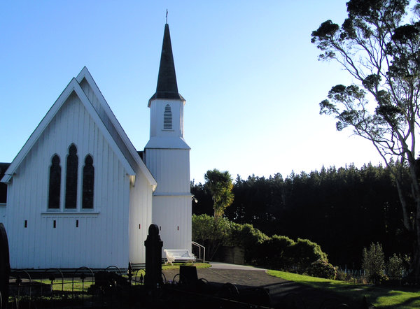 Country church: Anglican Church from colonial days in New Zealand.  Graveyard in front, my family buried behind the church.  Slits in the church for guns as during Maori wars my family and others were holed up inside.