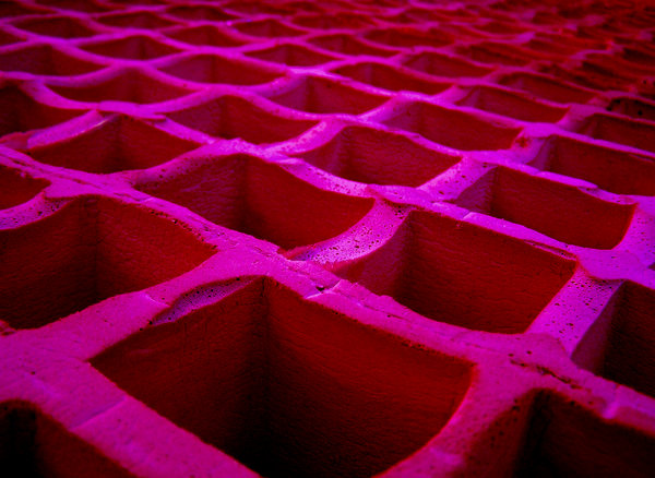 in the pink: The underside of an old rubber mattress actually