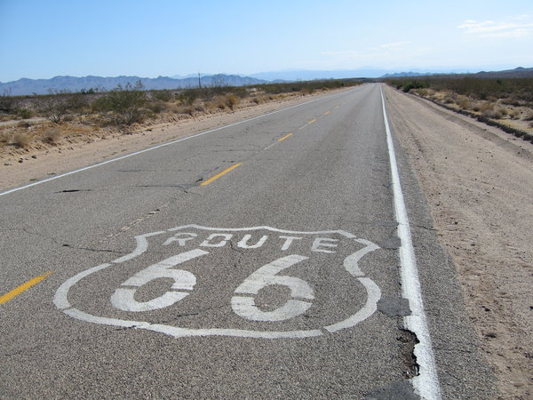 Route 66 road sign: One of the road signs in California