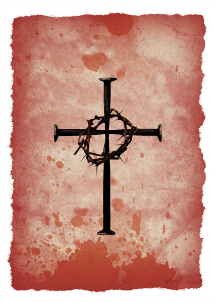 Blood Stained: A cross of nails on blood stained paper.Please visit my gallery at:http://www.thinkstockphot ..and:http://www.dreamstime.com ..