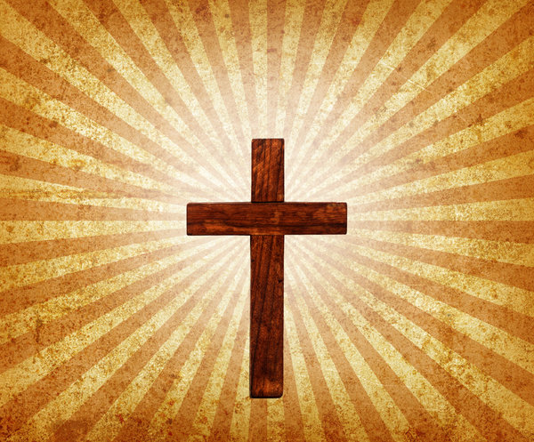 Easter: A vintage wooden cross on a grunge burst.Please visit my gallery at:http://www.thinkstockphot ..and:http://www.dreamstime.com ..