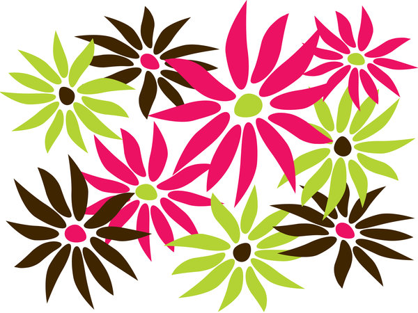 Abstract Daisies 2: Abstract daisies - chocolate, lime and raspberry theme.
