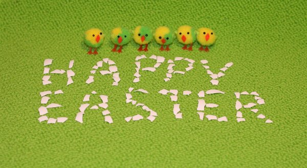 Happy Easter!: Happy Easter! message from small chickens ;-)