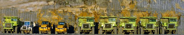 Mining Trucks Panaorama 1: Here are some mining trucks rested for the day.