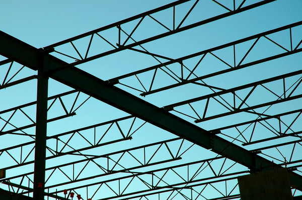Steel Frame Construction: Outlines of Steel frame building being built