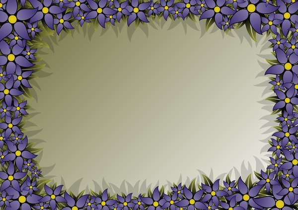 Floral Frame 4: rectangular frame with blue flowers in the high-resolution
