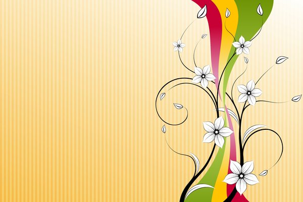 Flower & Ribbon: White flowers and colorful ribbon on yellow background