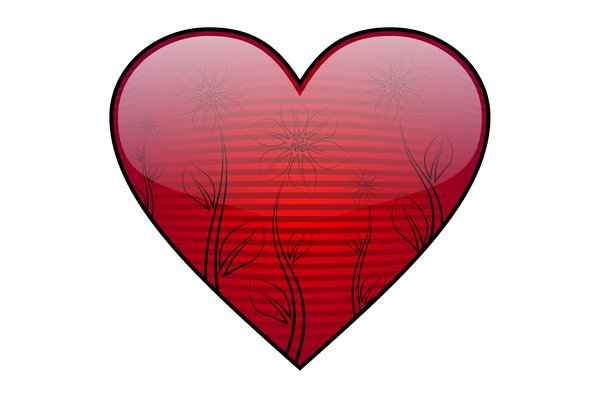 Valentine's Day Heart: Striped red heart with flowers on a white background