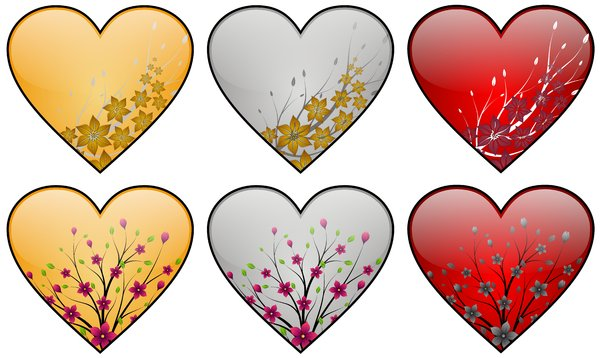 Hearts Set 01: Hearts set with floral motives on the white background