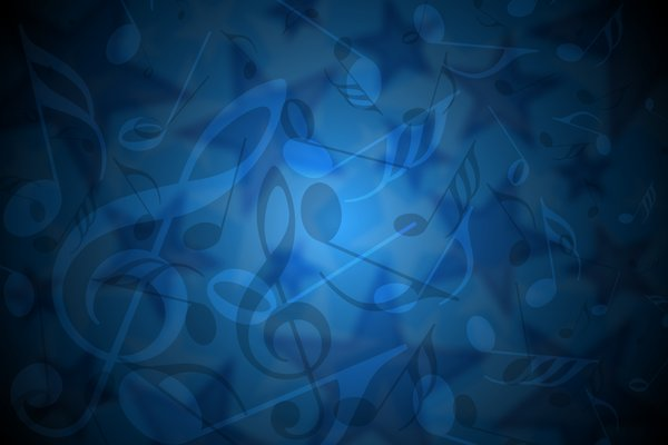 Delicate Music Background: Delicate blue background with stars, notes and treble key