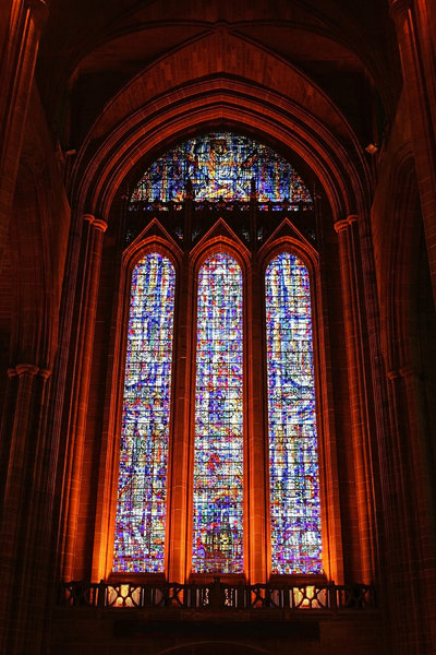 Cathedral window: Stained glass window in the Anglican cathedral, Liverpool, England. (Photography in this cathedral is freely permitted.)