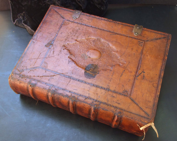old Dutch Bible 3: large antique leather bound Bible