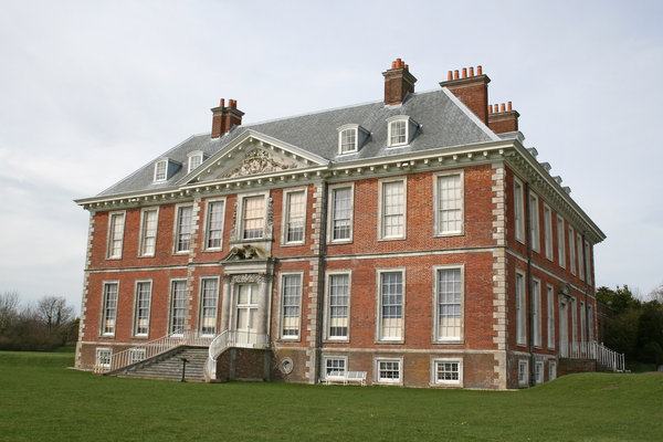 Uppark House: Southern aspect of Uppark House, a 17th century mansion in West Sussex, England. Photography of the exterior of this National Trust property is freely permitted.