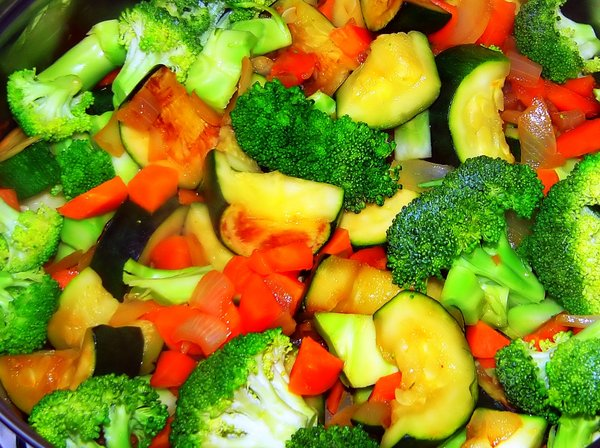 Stir-fried Vegetables: Yummy stir-fry, with lots of colour. I should have taken this when it was cold, as the steam put a lot of noise into the original photo.