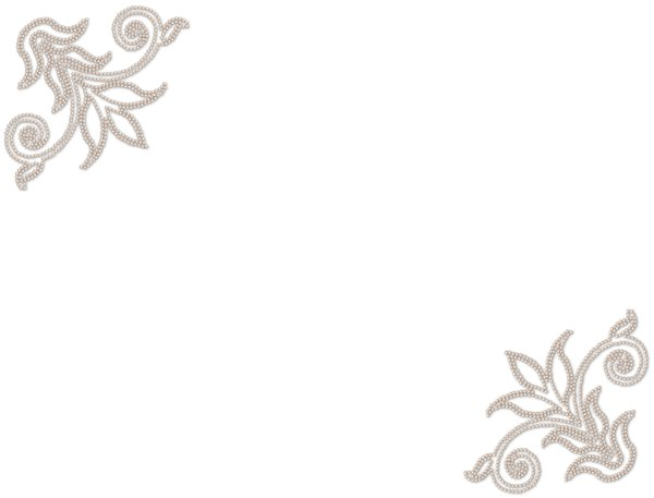 Pearl Corners 2: A light coloured pearl border on a plain white background.