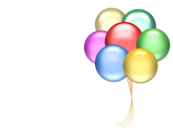 Balloons 1: Balloons on a white background with copyspace. Primary colours.