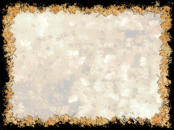 Grungy Leaf Border: Grunge background framed with 3d leafy edges on black.