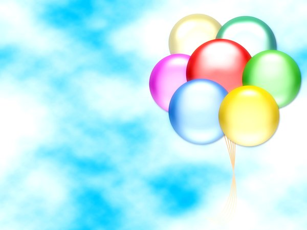 Balloons 3: Graphic of balloons on a sky background with copyspace. Primary colours.