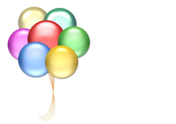Balloons 5: Graphic of balloons on a background with copyspace. Primary colours.