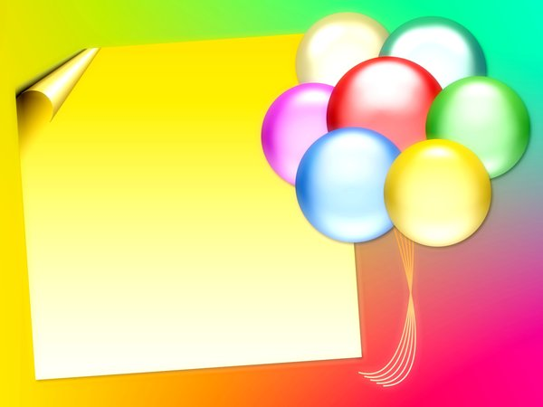 Balloons 8: Graphic of balloons on a background with copyspace. Primary colours. Makes a great party invitation. Remember, no commercial cards without express permission.