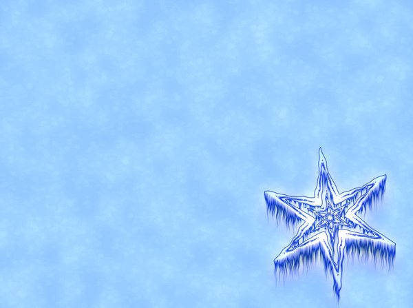 Icy Snowflake 4: Snowflake or star against a plain or snowy background. Plenty of copyspace.