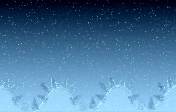 Fantasy Winter Scene: A cute and funny fantasy Christmas background with hills, snow, and trees, in shades of blue. Great illustration, wallpaper or background.