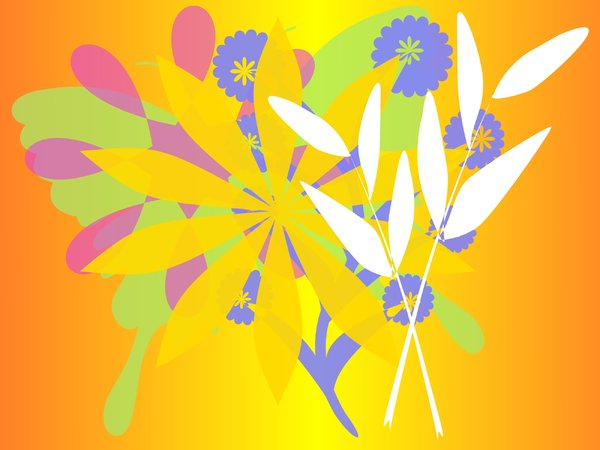 Springtime Graphic 5: Happy floral image representing spring. Lots of summery and bright colours.