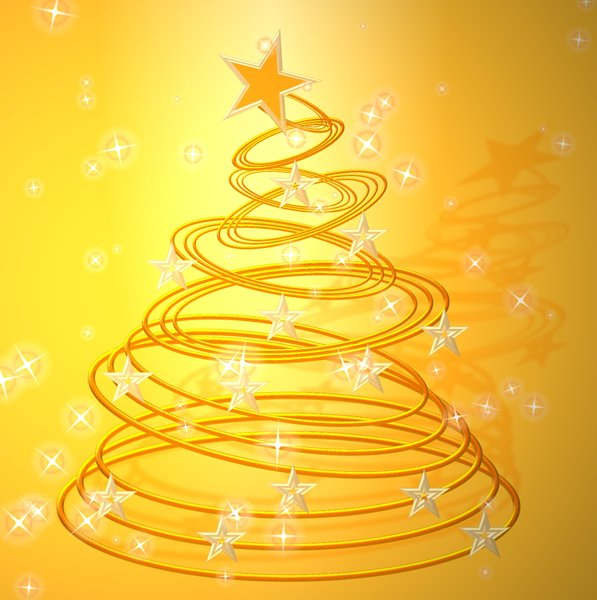 Abstract Christmas Tree: Festive abstract graphic to represent a Christmas tree. Mostly in shades of yellow and gold. No redistribution of my images is allowed without permission. Not for download or sale on any other site.