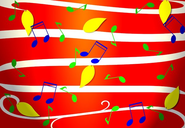 Fun Musical Background: A bright, cheerful, summery background graphic with musical notes.