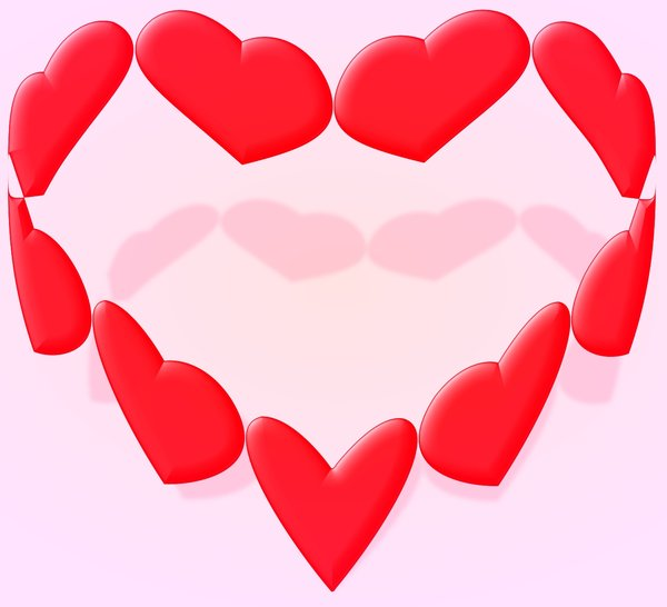 Valentine: Graphic using the shape of a valentine heart. A heart made of hearts.