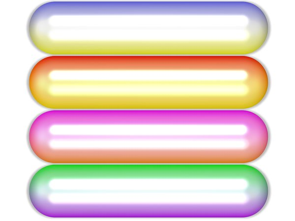 Web Buttons: Shiny, multicoloured rounded rectangular web buttons or banners with glossy reflections. White background.