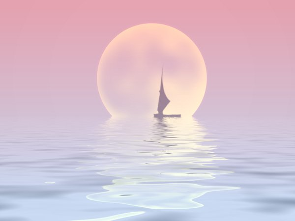 Sailor Moon 2: Silhouette of a sailboat on water with a large moon in the background.