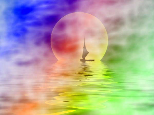 Sailor moon: Silhouette of a sailboat on misty water with a large moon in the background.